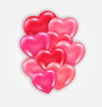 decorative element with shiny 3d hearts vector image