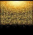 falling glow gold particles on black background vector image vector image