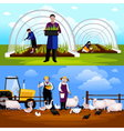 Farmers Gardeners 2 Horizontal Flat Banners Set vector image vector image