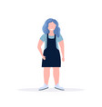 fat obese casual woman standing pose smiling vector image vector image