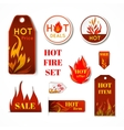 Fire label set vector image