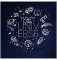 flat explore universe monogram blue vector image vector image