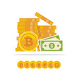 flat golden bitcoins and dollar banknotes bitcoin vector image