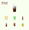 flat icon drink set of bottle soda carbonated vector image