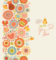 Floral pattern with funny birds and insects vector image vector image