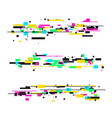 glitch style elements set vector image