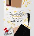 graduation banner background congrats vector image vector image