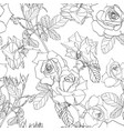 hand drawn line roses flowers pattern vector image vector image
