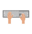 hands using computer keyboard vector image vector image