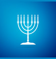 hanukkah menorah icon isolated on blue background vector image