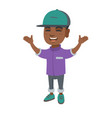 happy african boy standing with raised hands vector image