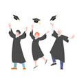 happy graduates students throw up graduate cap vector image
