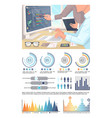 infographics analyzed data by office workers vector image vector image