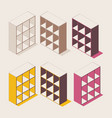 isometric colorful outline shelf cabinet vector image