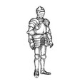 knight armour engraving vector image