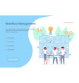 landing page template of workflow management vector image vector image