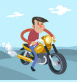 man ride on motorcycle cartoon flat vector image vector image