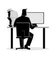 man working behind desktop computer vector image