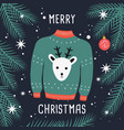 merry christmas ugly sweater card with reindeer vector image