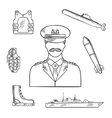 military man with army symbols sketch icon vector image