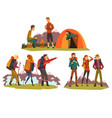 people travelling together camping tourists vector image vector image