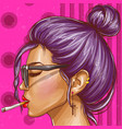 pop art hipster girl smoking cigarette vector image vector image