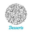 poster of desserts and drinks vector image vector image