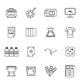 Printing icons set thin line style vector image vector image