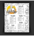 restaurant menu design template food vector image
