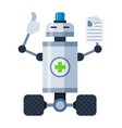 robot doctor on wheels showing ok sign and keeping vector image vector image