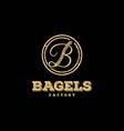rustic retro vintage letter b for bagels logo vector image