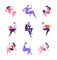 set business people male and female characters in vector image vector image