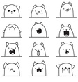 Set of 12 different emotions cat Anime doodle vector image vector image