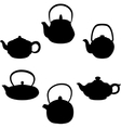 set of isolated icon silhouette teapots vector image vector image