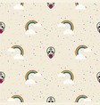 skull and rainbow funny seamless pattern vector image vector image