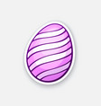 sticker pink easter egg with spiral pattern vector image vector image