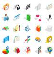 teacher icons set isometric style