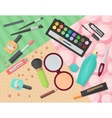 Top view of various makeup decorative cosmetics vector image