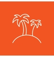 Two palm trees on island line icon vector image vector image