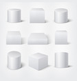 white empty 3d cylinders and cubes product vector image