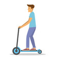 young guy riding his kick scooter to work vector image