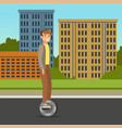 young man riding on one wheel electric scooter on vector image vector image