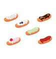 set of appetizing glazed eclairs vector image