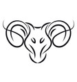 aries sign tattoo color on white background vector image vector image
