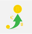 bitcoin financial system growth growth of the vector image