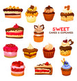 cake and cupcake desserts with cream and berries vector image