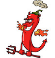 cartoon doodle pepper devil vector image vector image
