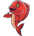 cartoon fish mascot waving vector image vector image