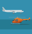color background with airplane and helicopter in vector image vector image