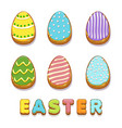 colored biskvit cookies eggs happy easter vector image vector image